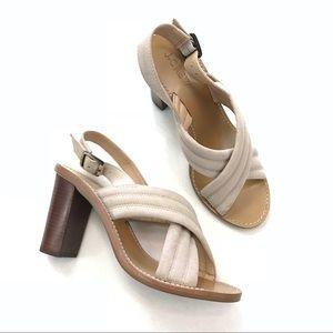 J. Crew Marcie Crisscross Wooden Stacked Heels
